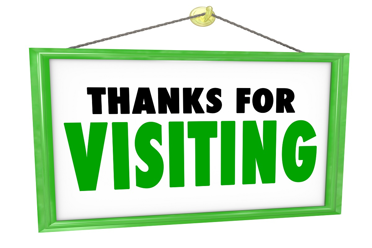 Thanks For Visiting hanging sign for a store to thank, appreciate and express a message of gratitude for a customer or visitor who has bought goods or services and is leaving or exiting the business