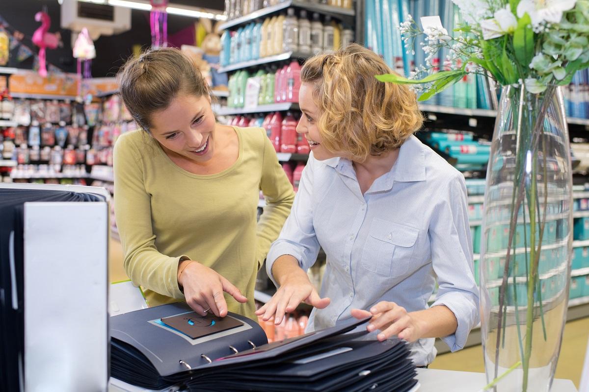 happy customers choosing product